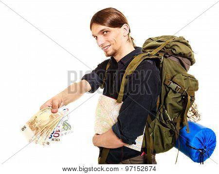 Man Tourist Backpacker Paying Euro Money. Travel.