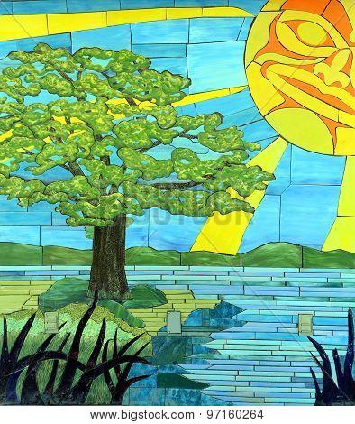Mural sunset in Duncan