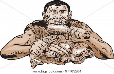 Neanderthal Man Eating Paleo Diet Etching