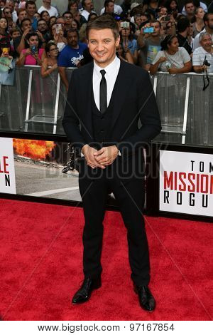 NEW YORK-JUL 27: Actor Jeremy Renner attends the US Premiere of 'Mission: Impossible - Rogue Nation' in Times Square on July 27, 2015 in New York City.