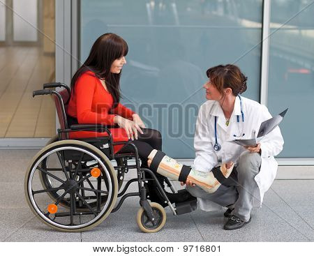 Woman With Leg Cast