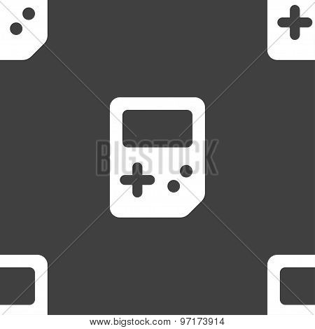 Tetris Icon Sign. Seamless Pattern On A Gray Background. Vector
