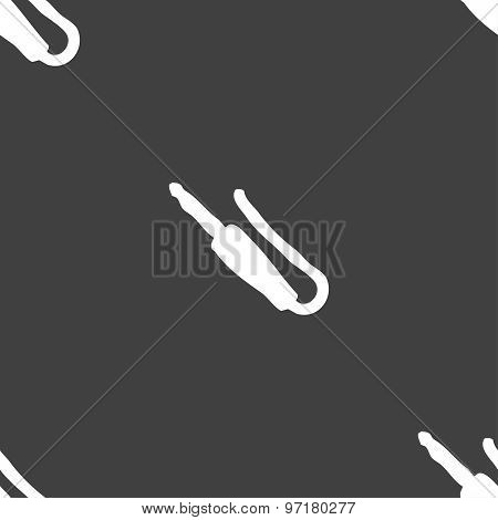 Plug, Mini Jack Icon Sign. Seamless Pattern On A Gray Background. Vector