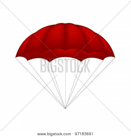 Parachute in red design on white background poster