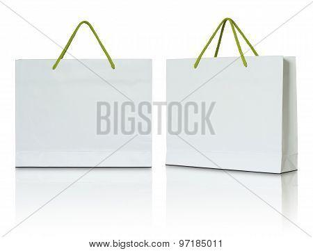 White Paper Shopping Bag On White Background