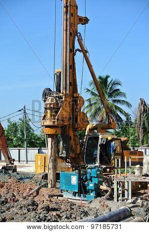 Bore Pile Rig Machine at construction site
