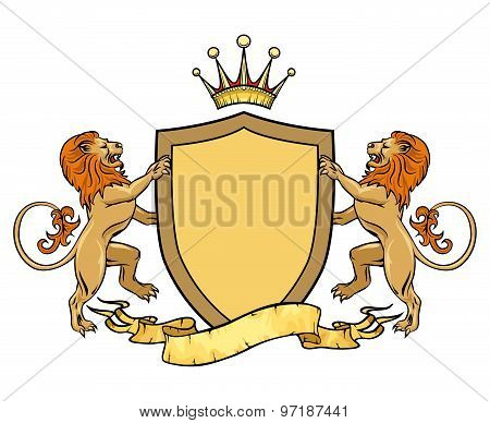 Heraldic lions with shield and ribbon. Emblem or badge template