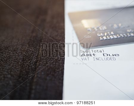 Shopping Receipt With Credit Card Close Up
