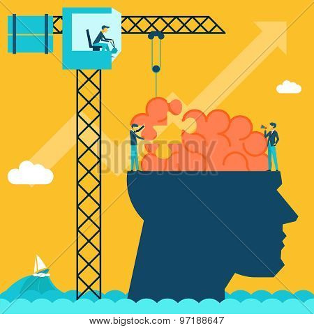 Man with brain puzzle. Creative concept background