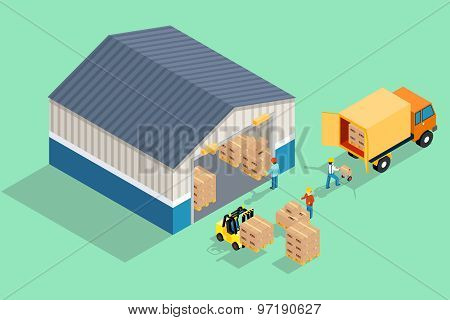 Isometric warehouse. Loading and unloading from warehouse