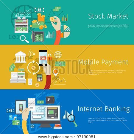 Set of payment concept web banners