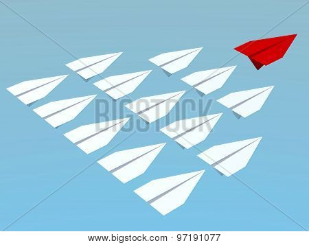 Leadership Concept. 3D Planes
