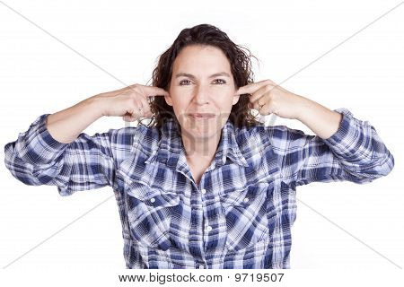 Woman Expression Blue Fingers Ears Smile