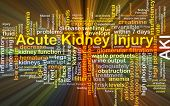 Background concept wordcloud illustration of acute kidney injury AKI glowing light poster