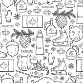 Seamless background with cartoon hand drawn objects on Canada theme: maple syrup, hockey stick, puck, bear, horn, flat. Travel north america concept for your design poster