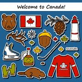Set of cartoon hand drawn stickers on Canada theme: maple syrup, hockey stick, puck, bear, horn, flat. Travel north america concept for your design poster