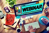 Webinar Online Seminar Global Communications Concept poster