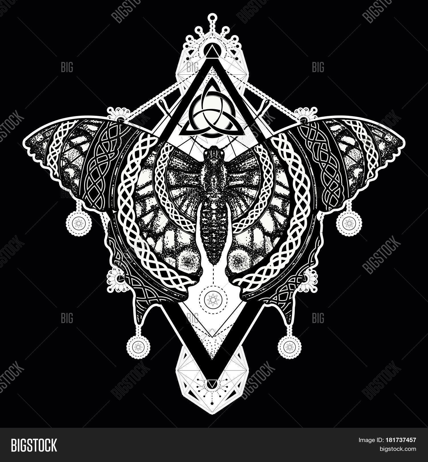47f41111e Butterfly tattoo art celtic style. Mystical symbol of freedom nature  tourism. Beautiful Swallowtail boho