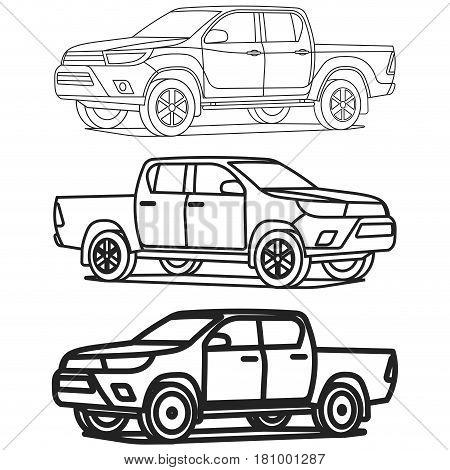 Pickup Truck Outline Set On White Background Drawing Vector Illustration