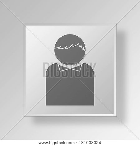 Gray Square Collared Man Symbol icon Concept