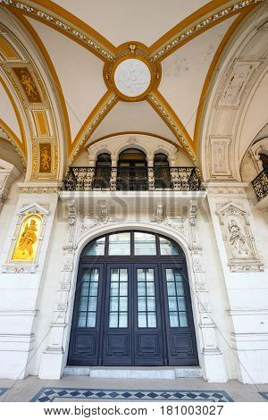 Facade Of Austrian Parliament Building In Vienna, Austria