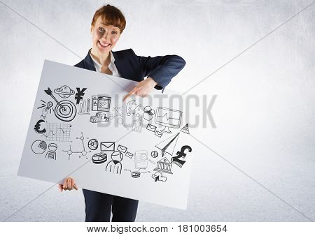 Digital composite of Businesswoman holding card with business graphics drawings