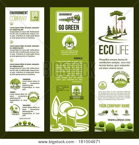 Green environment and nature ecology protection vector banners for eco company. Vector design of parks, greener woodland and square and trees. Planet protection and ecosystem conservation concept