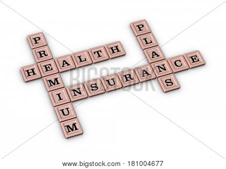 Premium Health insurance plans crossword puzzle. Healthcare concept. 3D illustration on white background.