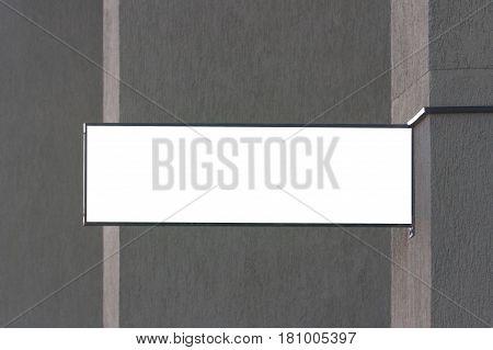 Rectangular shape mock up signboard on the wall
