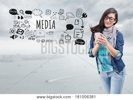 Digital composite of Woman on phone and Media text with drawings graphics