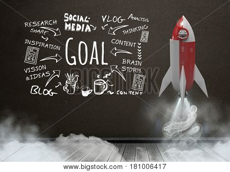Digital composite of 3D Rocket flying in front of blackboard and Goal text with drawings graphics