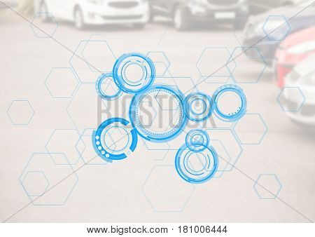 Digital composite of Cars in carpark with blue interface and white overlay