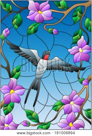 Illustration in stained glass style with a swallow on background of blue sky and flowering tree branches