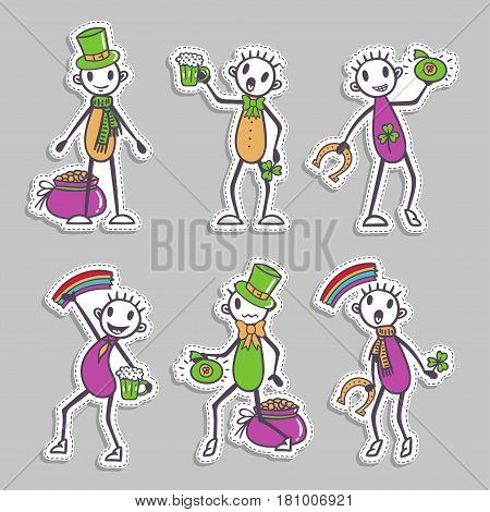 Ireland Stick figure set - paper stickers - Saint Patrick's Day collection, holiday vector