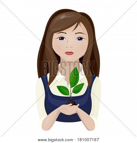 Vector illustration of a teenage girl with long hair is holding a seedling in her hand a young plant with green leaves. Isolated on white background