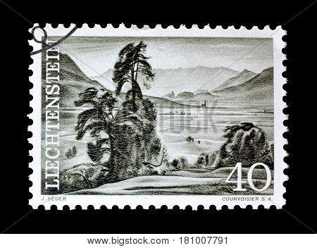 LIECHTENSTEIN - CIRCA 1961 : Cancelled postage stamp printed by Liechtenstein, that shows View from Schellenberg.
