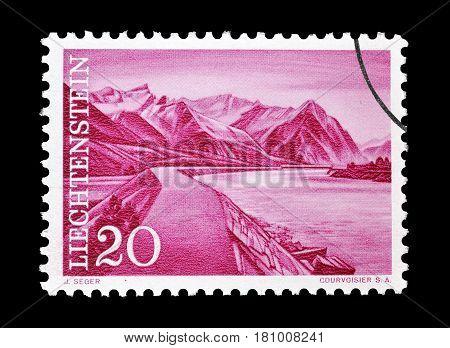LIECHTENSTEIN - CIRCA 1959 : Cancelled postage stamp printed by Liechtenstein, that shows Rhine dam.