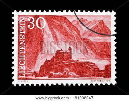 LIECHTENSTEIN - CIRCA 1959 : Cancelled postage stamp printed by Liechtenstein, that shows Gutenberg castle.