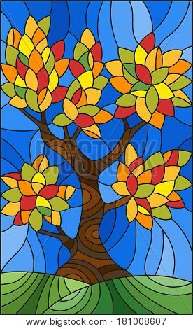 Illustration in stained glass style with autumn tree on sky background