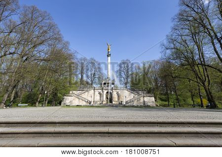 """Friedensengel"" statue in Munich Germany in spring"