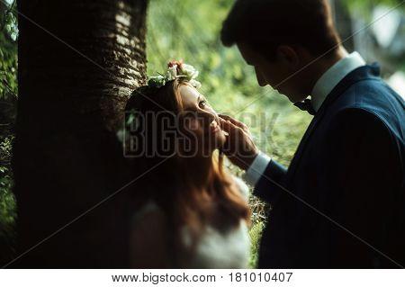 Amazing Sensual Boho Bride And Stylish Elegant Groom, Gentle Touch In Sunny Woods