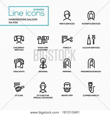 Hairdressing Saloon - modern vector single line icons set. Service for men, women, children, wash, blow dry, haircut, colour, highlight, braiding, perming, progressive brush, styling, special occasions, beard trim, clipper