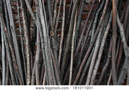 The old gray round wooden slats that made up vertically
