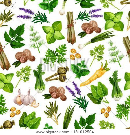 Herbs and spices pattern. Vector seamless design of spicy basil, dill and ginger, parsley and arugula, thyme and lavender, rosemary and cinnamon with vanilla, peppermint, anise and oregano