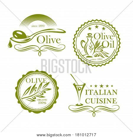 Olives and olive oil products vector labels set. Isolated icons of green olive in alcohol cocktail glass, Italian cuisine cooking pitcher or jar. Organic food symbols design for extra virgin oil