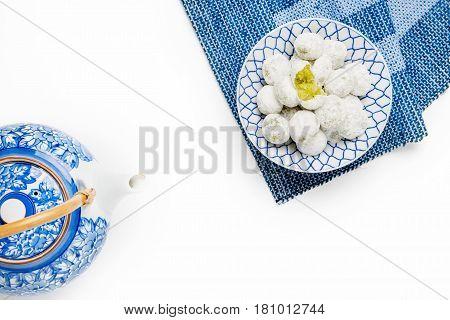 Coconut Pandan Ball In Ceramic Bowl On Table