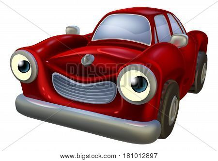 A happy red old fashioned car cartoon character