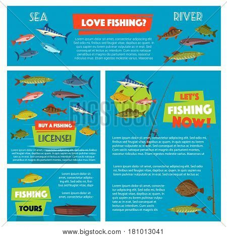 Fishing vector posters and banners for fisherman club or trip tour license information. Design of fisher tackle floats and fishing rods, big fish catch of sea salmon or river trout, tuna and marlin