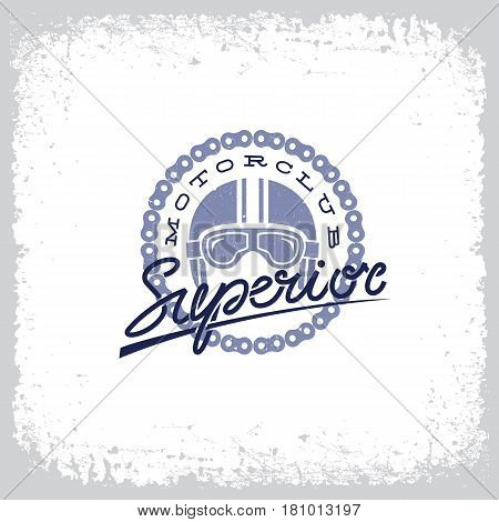 Vintage label with helmet goggles chain and lettering word 'Superior' on grunge background for t-shirt print poster emblem. Vector illustration.