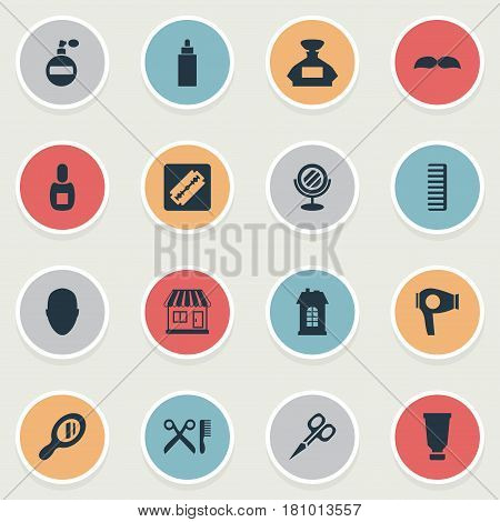 Vector Illustration Set Of Simple Barber Icons. Elements Drying Machine, Peeper, Supermarket And Other Synonyms Man, Tool And Looking-Glass.